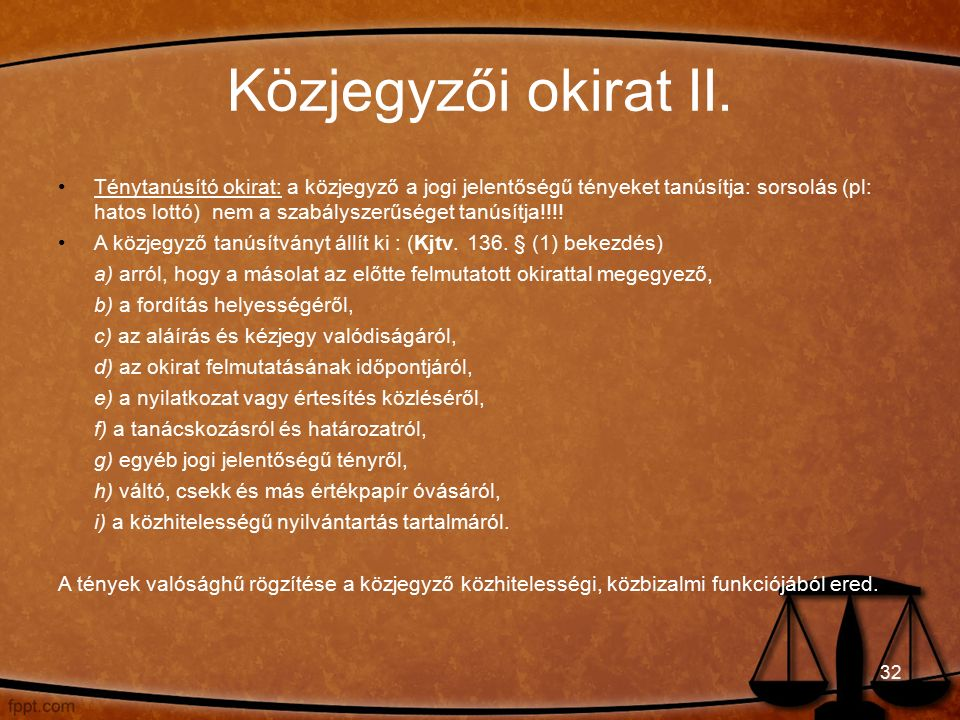 Közjegyzői okirat II.