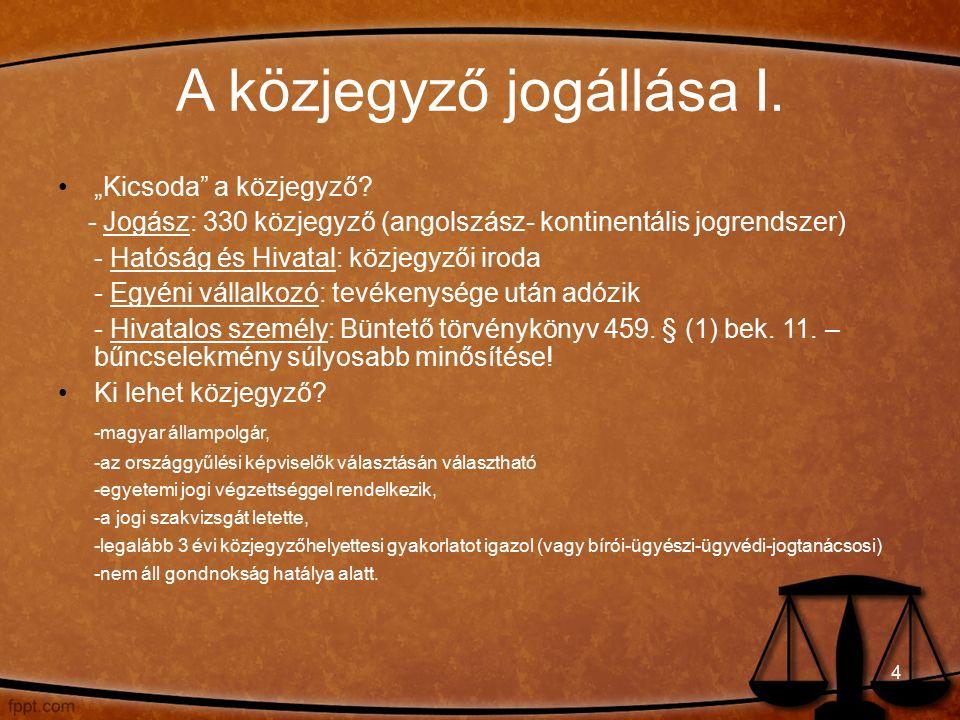 A közjegyző jogállása II.