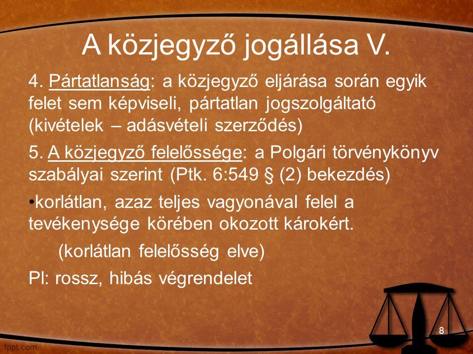 A közjegyző jogállása V. 4.