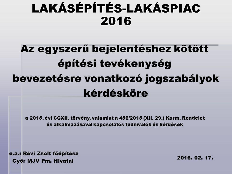 LAKÁSÉPÍTÉS-LAKÁSPIAC2016 Az egyszerű bejelentéshez kötött építési tevékenység bevezetésre vonatkozó jogszabályok kérdésköre e.a.: Révi Zsolt főépítész Győr MJV Pm.