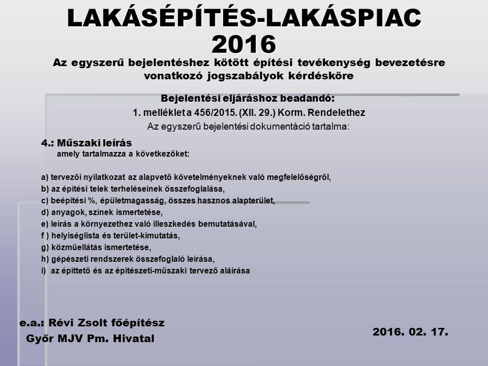 Az egyszerű bejelentéshez kötött építési tevékenység bevezetésre vonatkozó jogszabályok kérdésköre e.a.: Révi Zsolt főépítész Győr MJV Pm.