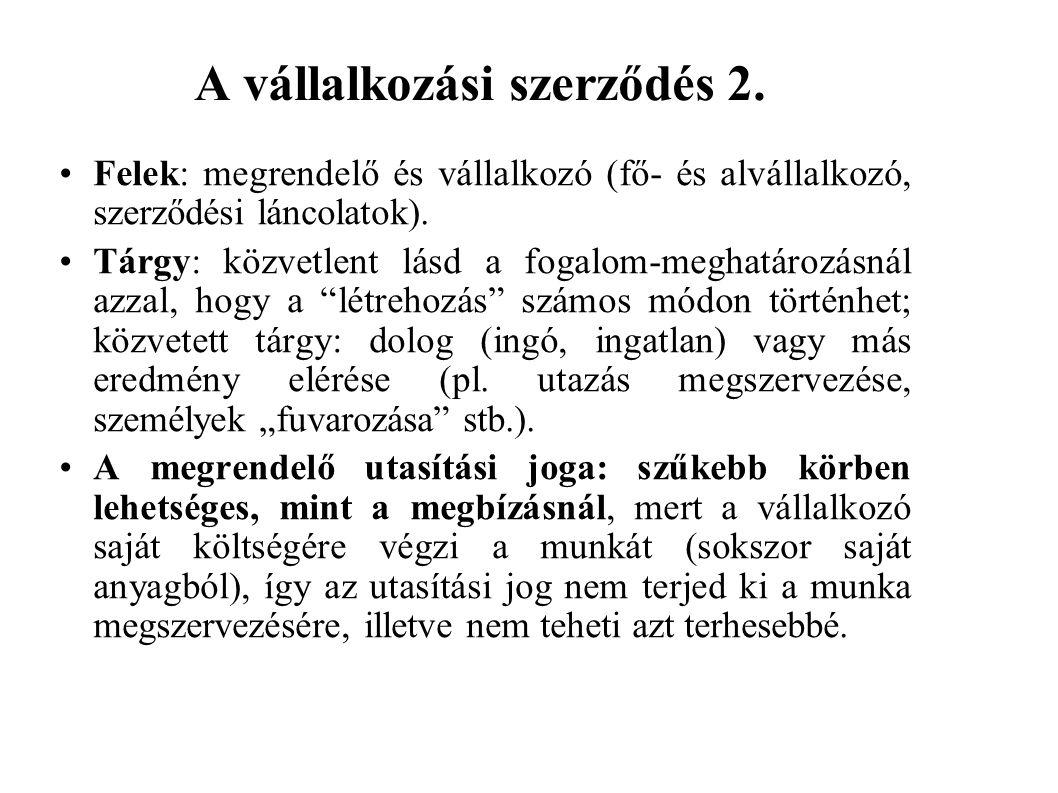 A vállalkozási szerződés 2.