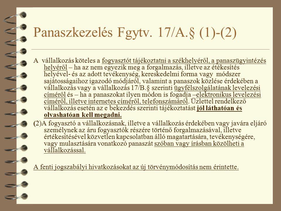 Panaszkezelés Fgytv.