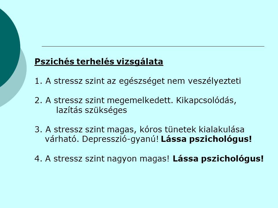 Pszichés terhelés vizsgálata 1. A stressz szint az egészséget nem veszélyezteti 2.