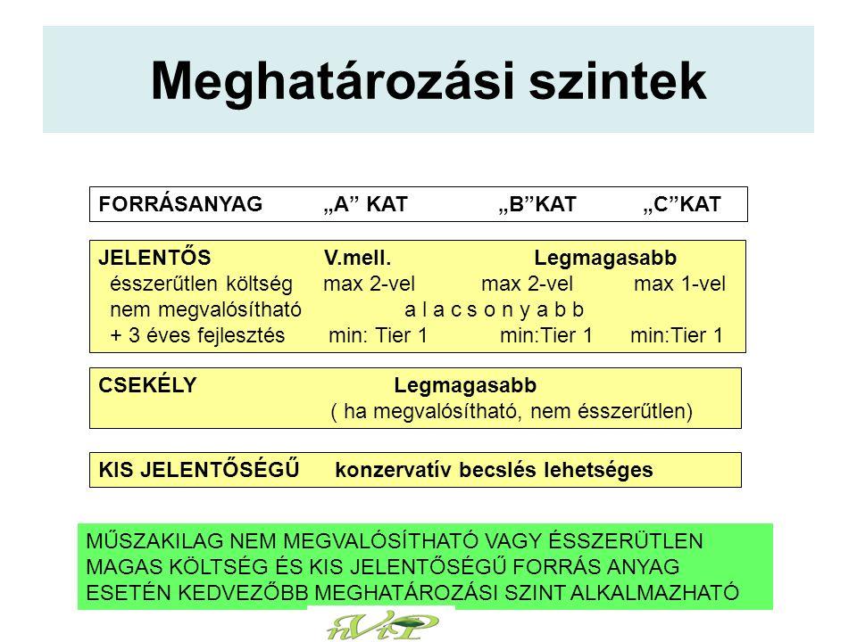 """Meghatározási szintek FORRÁSANYAG """"A KAT """"B KAT """"C KAT JELENTŐS V.mell."""
