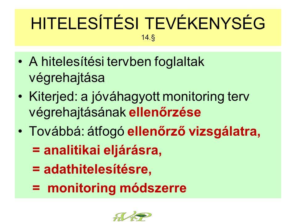 A hitelesítési tervben foglaltak végrehajtása Kiterjed: a jóváhagyott monitoring terv végrehajtásának ellenőrzése Továbbá: átfogó ellenőrző vizsgálatra, = analitikai eljárásra, = adathitelesítésre, = monitoring módszerre HITELESÍTÉSI TEVÉKENYSÉG 14.§