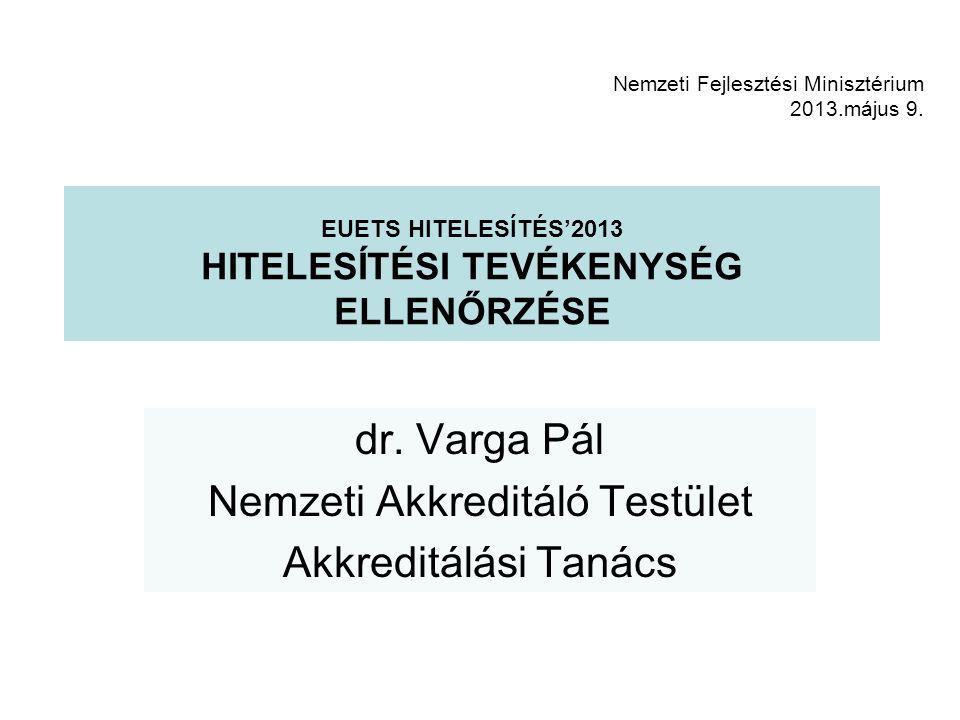 EUETS HITELESÍTÉS'2013 HITELESÍTÉSI TEVÉKENYSÉG ELLENŐRZÉSE dr.