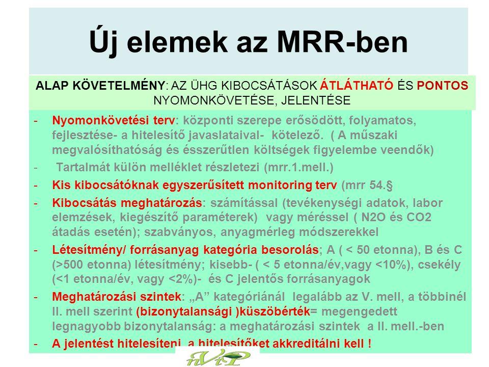 Új elemek az MRR-ben -Nyomonkövetési terv: központi szerepe erősödött, folyamatos, fejlesztése- a hitelesítő javaslataival- kötelező.