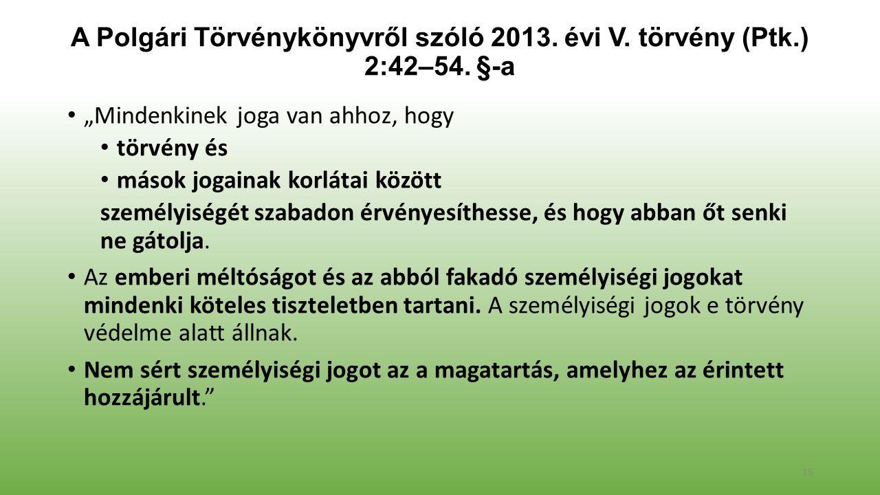 A Polgári Törvénykönyvről szóló 2013. évi V. törvény (Ptk.) 2:42–54.
