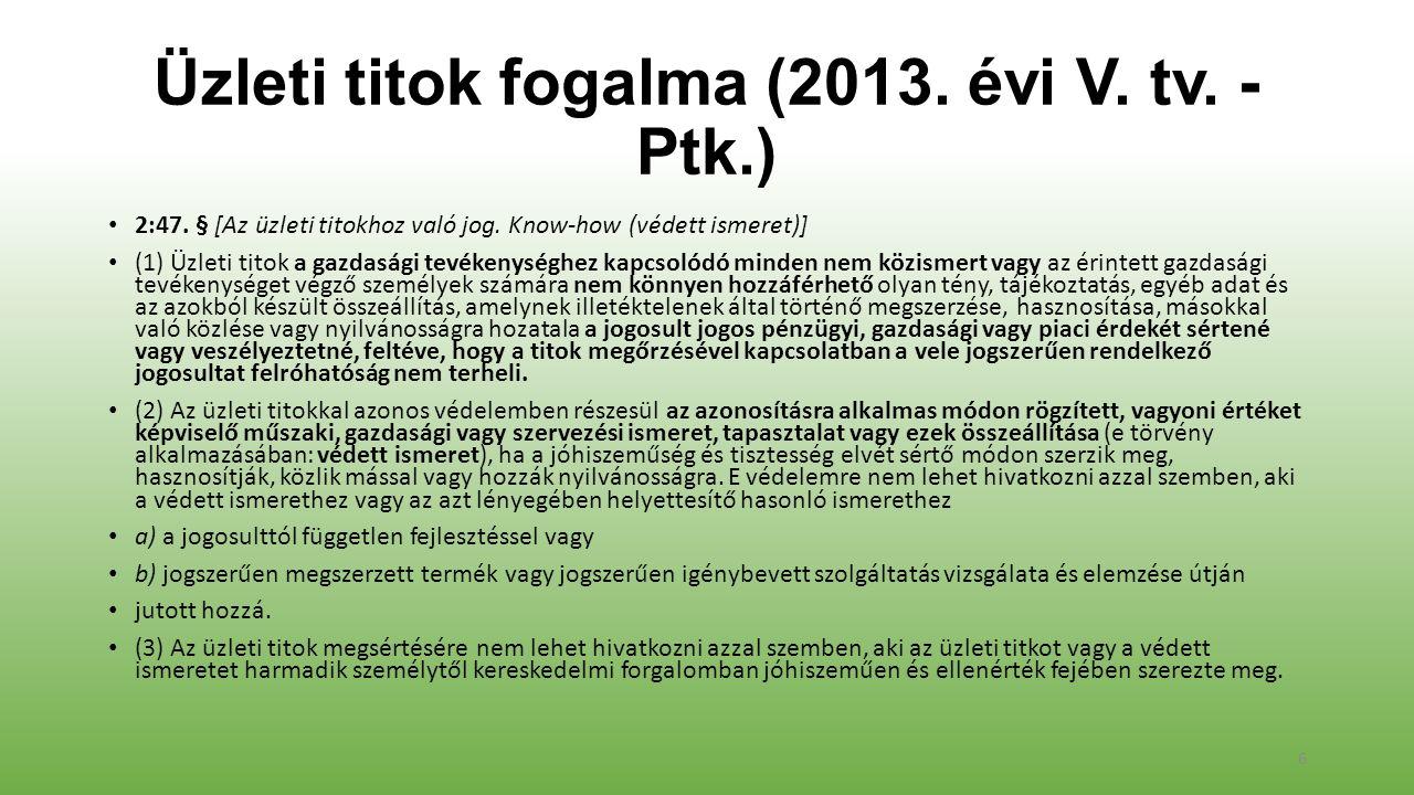 Üzleti titok fogalma (2013. évi V. tv. - Ptk.) 2:47.