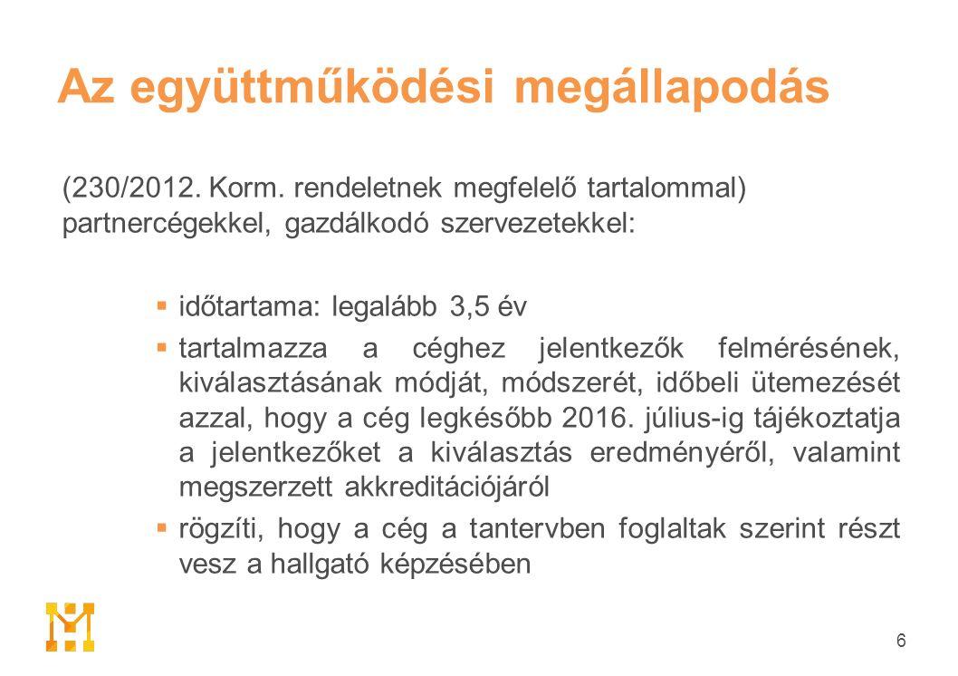 Az együttműködési megállapodás (230/2012. Korm.