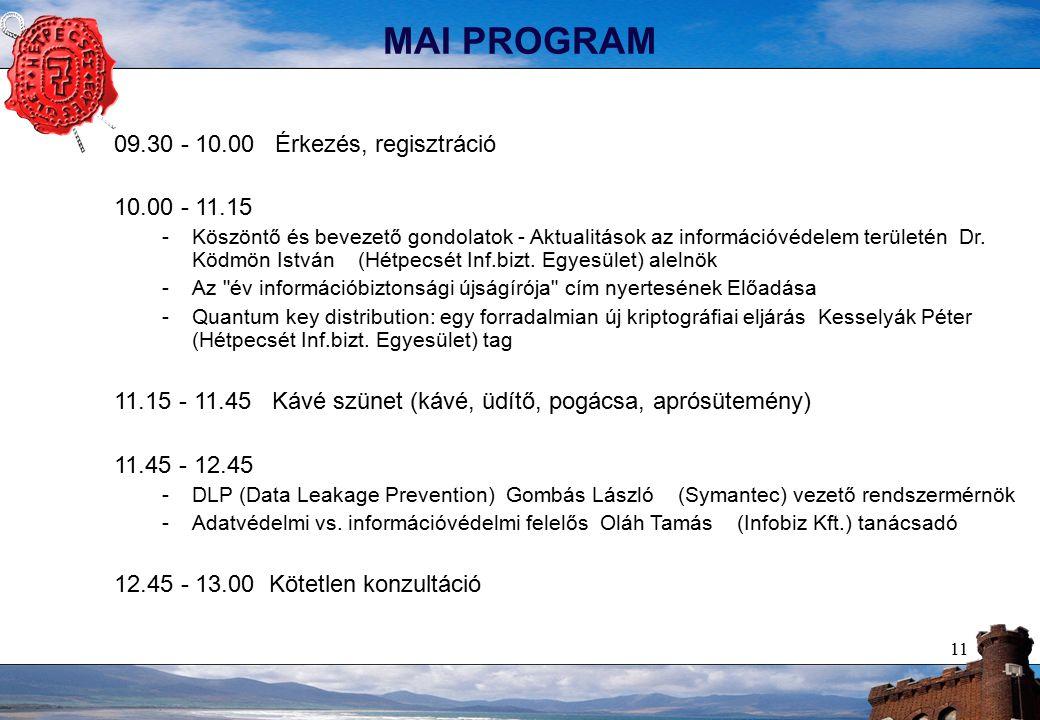 11 MAI PROGRAM 09.30 - 10.00 Érkezés, regisztráció 10.00 - 11.15 -Köszöntő és bevezető gondolatok - Aktualitások az információvédelem területén Dr.