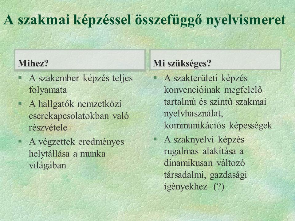 A szakmai képzéssel összefüggő nyelvismeret Mihez.