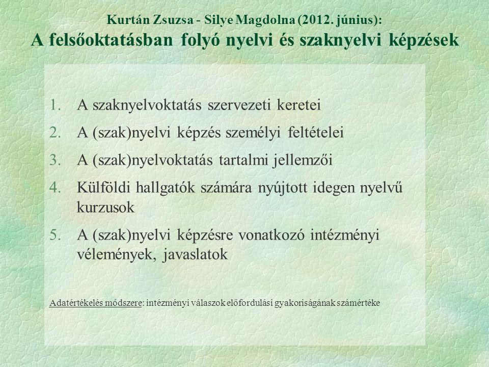 Kurtán Zsuzsa - Silye Magdolna (2012. június): A felsőoktatásban folyó nyelvi és szaknyelvi képzések 1.A szaknyelvoktatás szervezeti keretei 2.A (szak