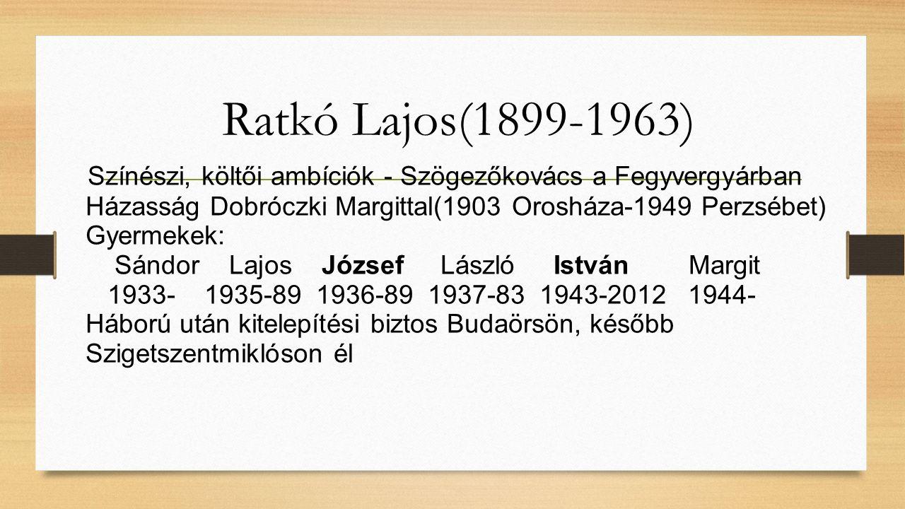 Ratkó Lajos(1899-1963) Színészi, költői ambíciók - Szögezőkovács a Fegyvergyárban Házasság Dobróczki Margittal(1903 Orosháza-1949 Perzsébet) Gyermekek