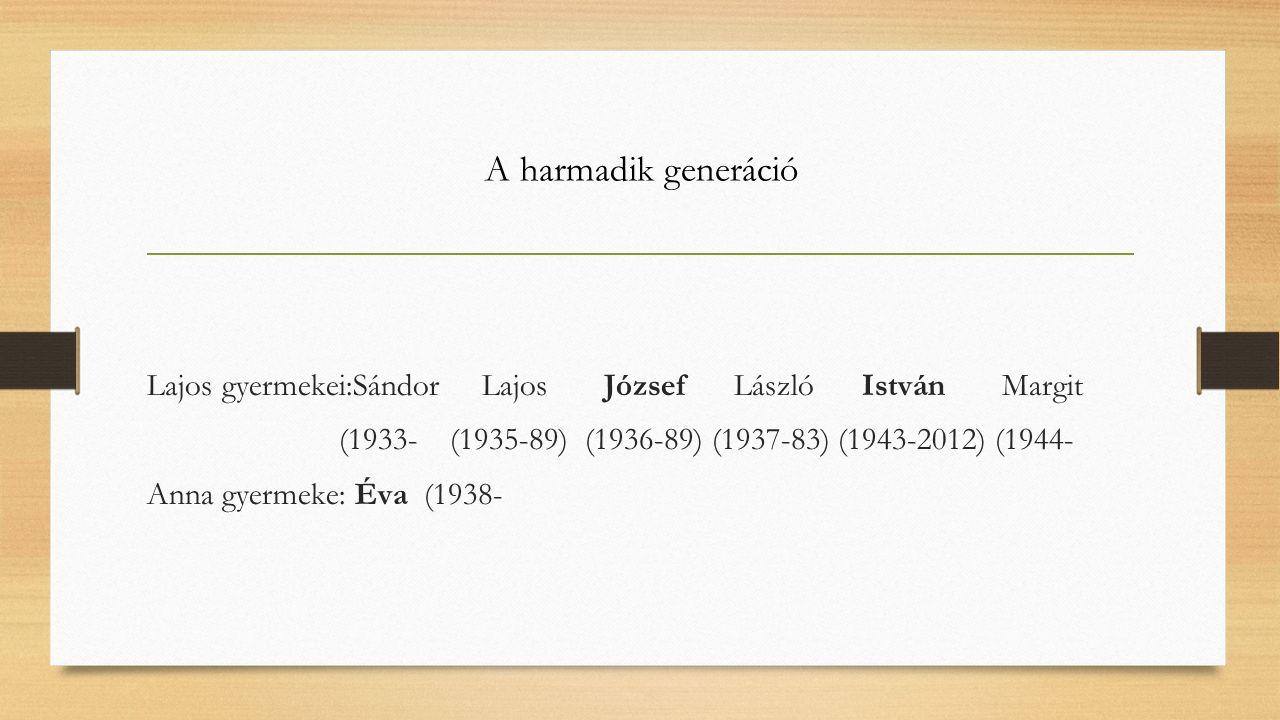 A harmadik generáció Lajos gyermekei:Sándor Lajos József László István Margit (1933- (1935-89) (1936-89) (1937-83) (1943-2012) (1944- Anna gyermeke: Éva (1938-