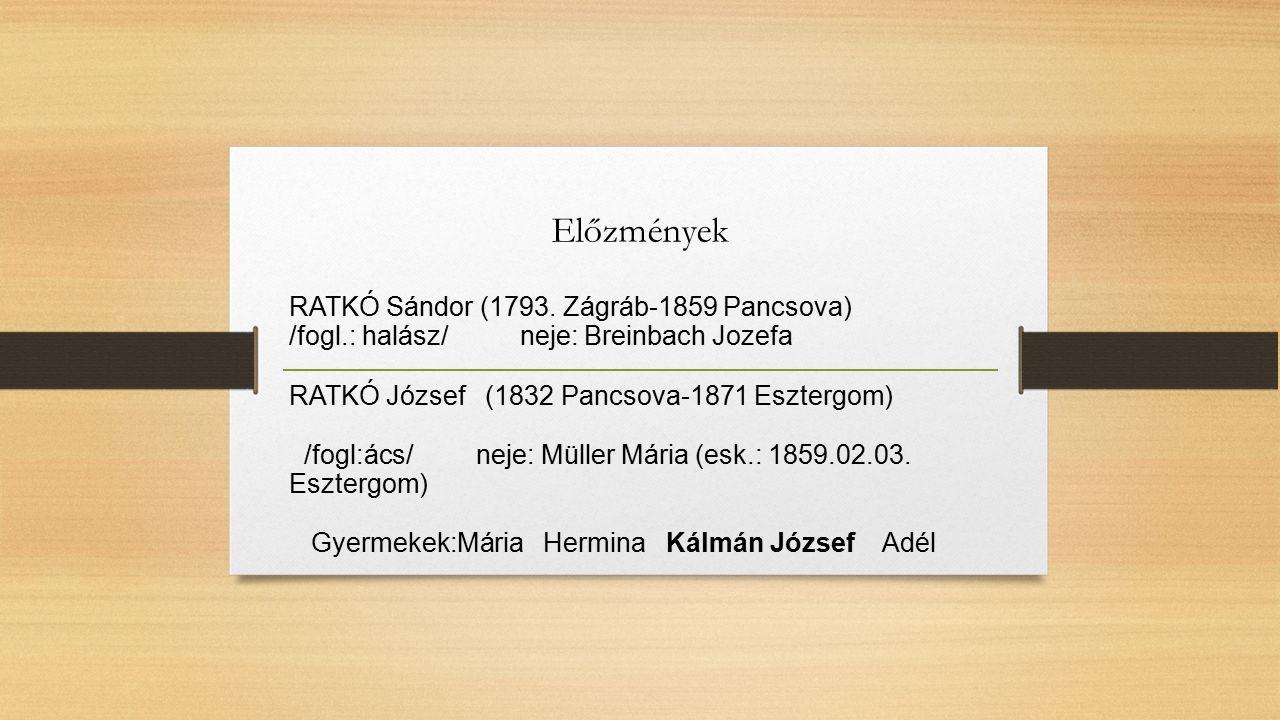 Előzmények RATKÓ Sándor (1793. Zágráb-1859 Pancsova) /fogl.: halász/ neje: Breinbach Jozefa RATKÓ József (1832 Pancsova-1871 Esztergom) /fogl:ács/ nej