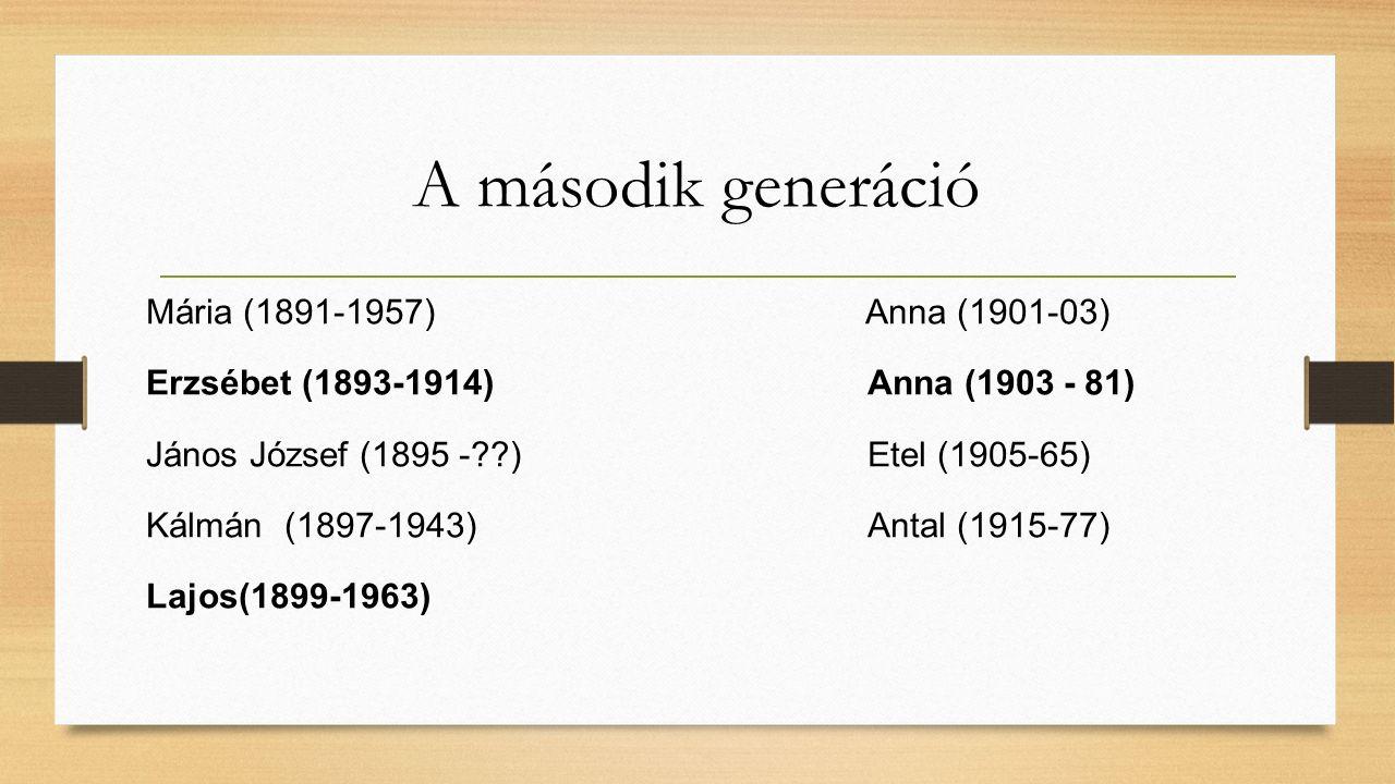 A második generáció Mária (1891-1957) Anna (1901-03) Erzsébet (1893-1914) Anna (1903 - 81) János József (1895 -??) Etel (1905-65) Kálmán (1897-1943) Antal (1915-77) Lajos(1899-1963)