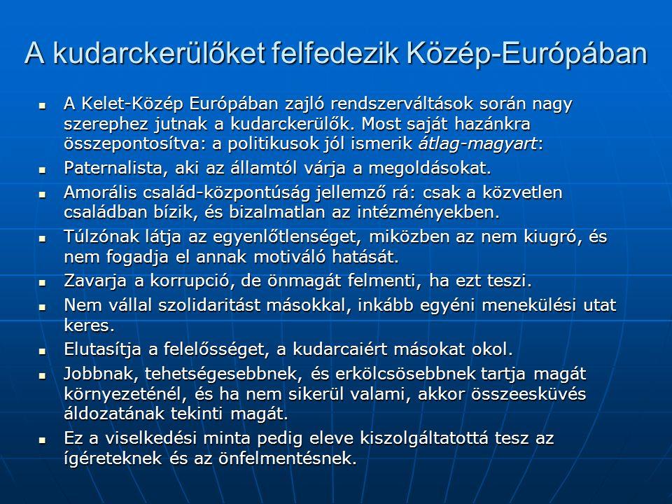A kudarckerülőket felfedezik Közép-Európában A Kelet-Közép Európában zajló rendszerváltások során nagy szerephez jutnak a kudarckerülők.