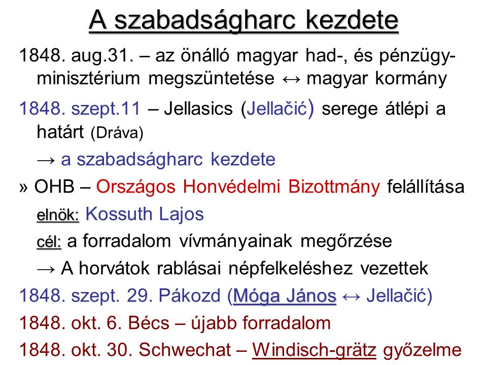 A szabadságharc kezdete 1848. aug.31. – az önálló magyar had-, és pénzügy- minisztérium megszüntetése ↔ magyar kormány 1848. szept.11 – Jellasics (Jel
