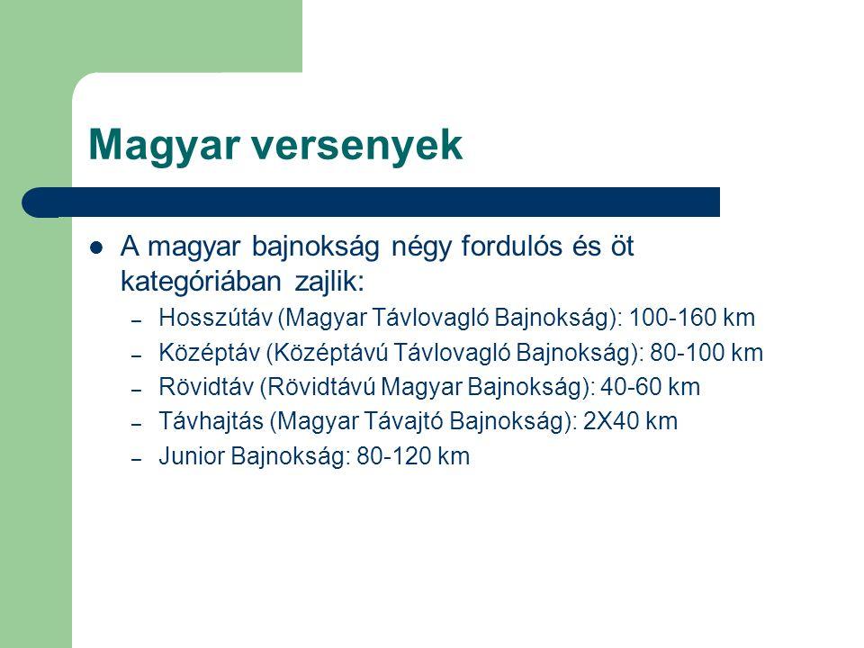 Magyar versenyek A magyar bajnokság négy fordulós és öt kategóriában zajlik: – Hosszútáv (Magyar Távlovagló Bajnokság): 100-160 km – Középtáv (Középtávú Távlovagló Bajnokság): 80-100 km – Rövidtáv (Rövidtávú Magyar Bajnokság): 40-60 km – Távhajtás (Magyar Távajtó Bajnokság): 2X40 km – Junior Bajnokság: 80-120 km