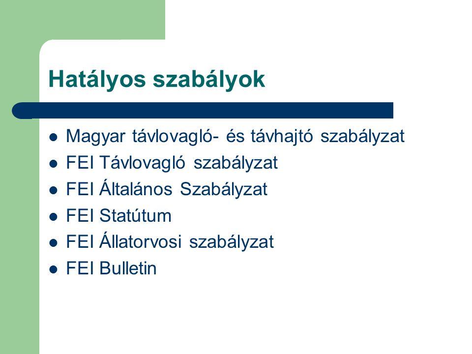 Hatályos szabályok Magyar távlovagló- és távhajtó szabályzat FEI Távlovagló szabályzat FEI Általános Szabályzat FEI Statútum FEI Állatorvosi szabályzat FEI Bulletin