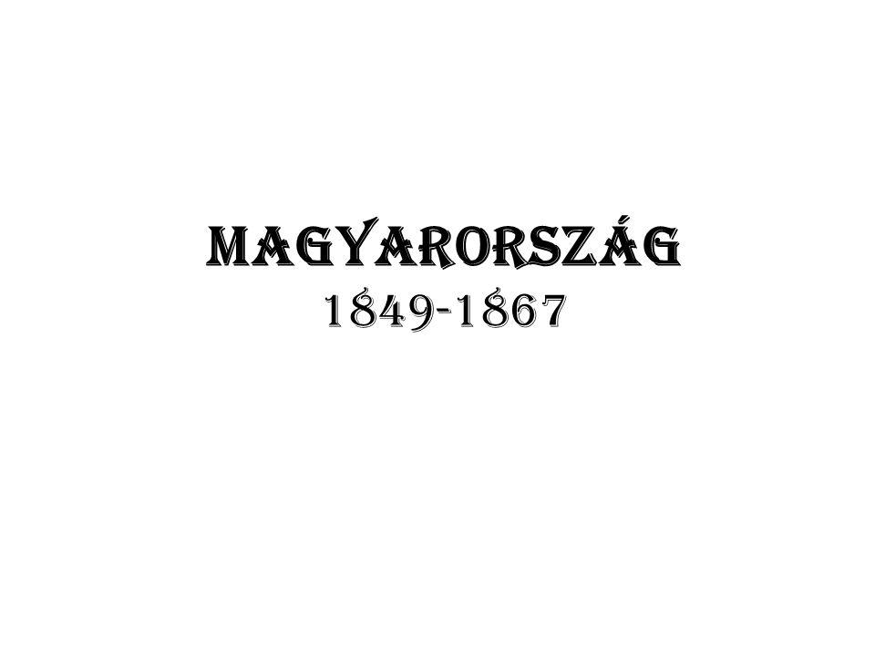 1851-59: a neoabszolutizmus kora Magyarországon Bach-korszaknak nevezzük cél: egységes birodalom kialakítása A kormány csak tanácsot ad, a király irányít kizárólagosan Magyarország szétosztása kerületekre centralizált közigazgatás, nem magyar hivatalnokréteg kialakítása Katonaság, besúgók, zsandárok vidéken DE.