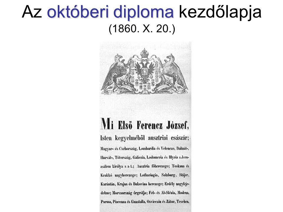 októberi diploma Az októberi diploma kezdőlapja (1860. X. 20.)