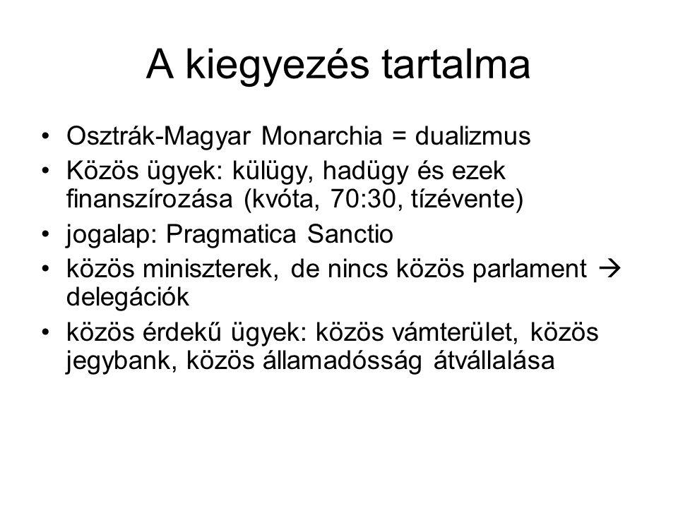 A kiegyezés tartalma Osztrák-Magyar Monarchia = dualizmus Közös ügyek: külügy, hadügy és ezek finanszírozása (kvóta, 70:30, tízévente) jogalap: Pragmatica Sanctio közös miniszterek, de nincs közös parlament  delegációk közös érdekű ügyek: közös vámterület, közös jegybank, közös államadósság átvállalása