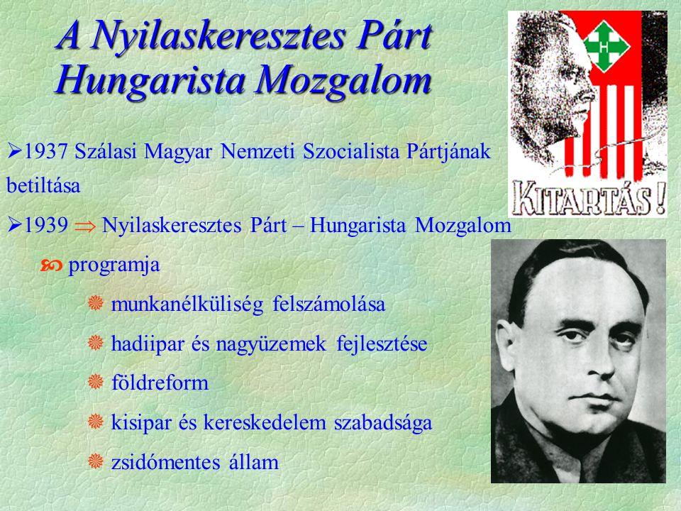  1937 Szálasi Magyar Nemzeti Szocialista Pártjának betiltása  1939  Nyilaskeresztes Párt – Hungarista Mozgalom  programja  munkanélküliség felszámolása  hadiipar és nagyüzemek fejlesztése  földreform  kisipar és kereskedelem szabadsága  zsidómentes állam A Nyilaskeresztes Párt Hungarista Mozgalom