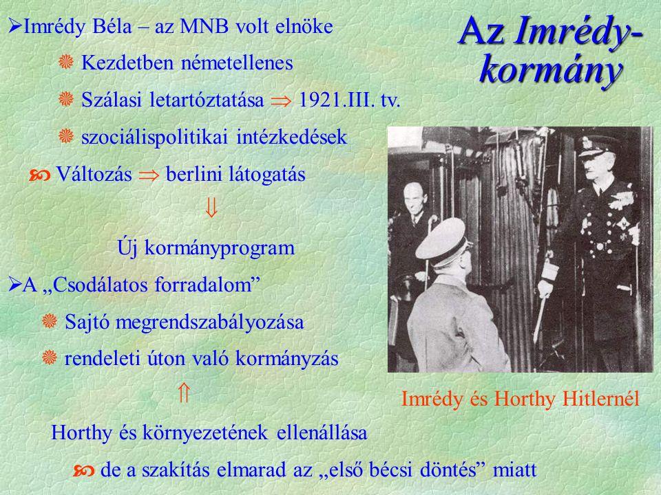  Imrédy Béla – az MNB volt elnöke  Kezdetben németellenes  Szálasi letartóztatása  1921.III. tv.  szociálispolitikai intézkedések  Változás  be