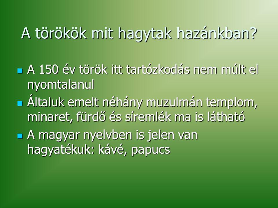 A törökök mit hagytak hazánkban.
