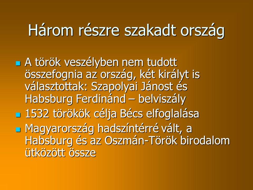 Három részre szakadt ország A török veszélyben nem tudott összefognia az ország, két királyt is választottak: Szapolyai Jánost és Habsburg Ferdinánd – belviszály A török veszélyben nem tudott összefognia az ország, két királyt is választottak: Szapolyai Jánost és Habsburg Ferdinánd – belviszály 1532 törökök célja Bécs elfoglalása 1532 törökök célja Bécs elfoglalása Magyarország hadszíntérré vált, a Habsburg és az Oszmán-Török birodalom ütközött össze Magyarország hadszíntérré vált, a Habsburg és az Oszmán-Török birodalom ütközött össze