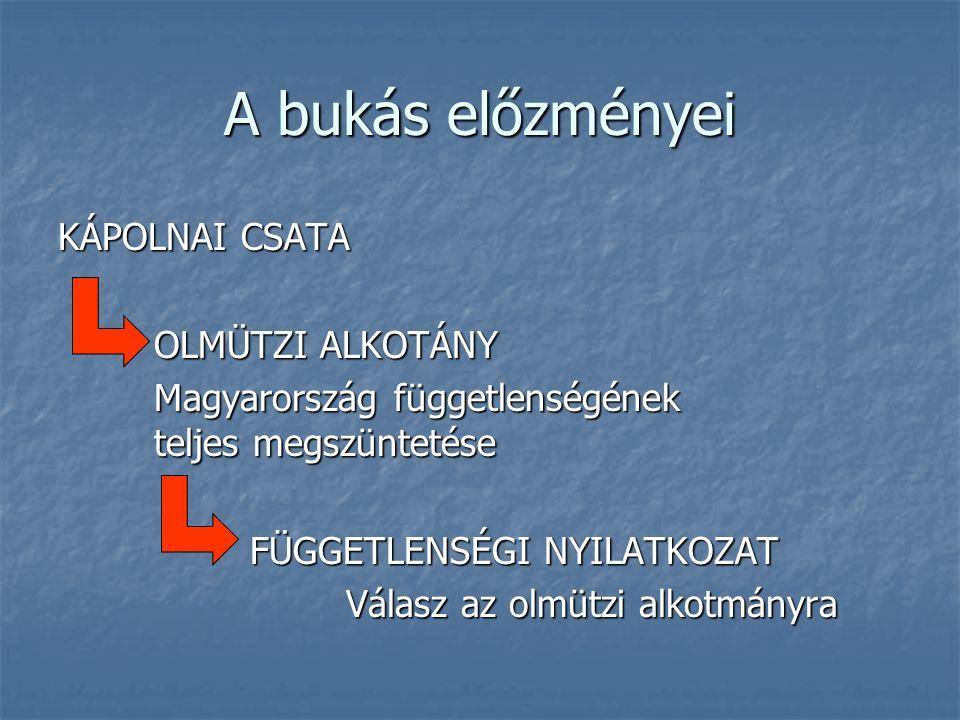 A bukás előzményei KÁPOLNAI CSATA OLMÜTZI ALKOTÁNY Magyarország függetlenségének teljes megszüntetése FÜGGETLENSÉGI NYILATKOZAT Válasz az olmützi alkotmányra