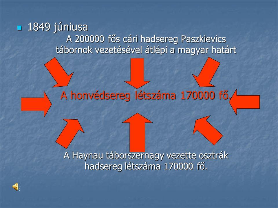 1849 júniusa 1849 júniusa A 200000 fős cári hadsereg Paszkievics tábornok vezetésével átlépi a magyar határt A honvédsereg létszáma 170000 fő.