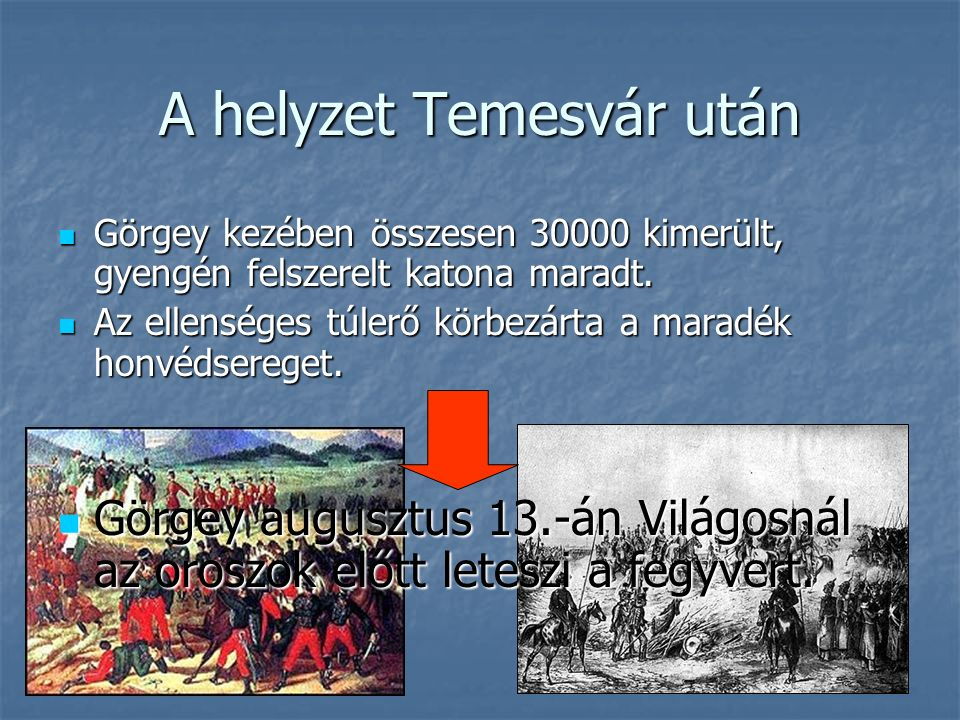 A helyzet Temesvár után Görgey kezében összesen 30000 kimerült, gyengén felszerelt katona maradt.