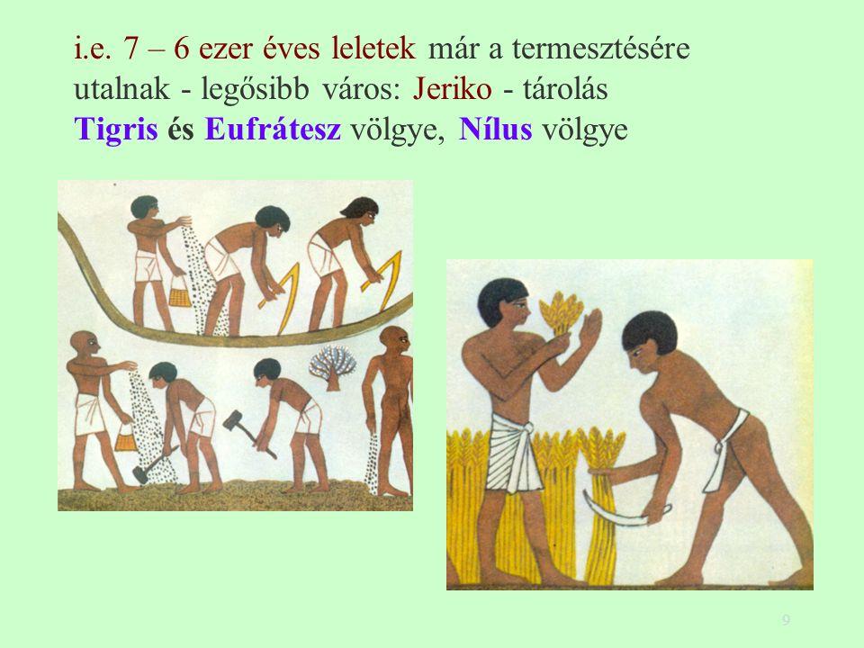 9 i.e. 7 – 6 ezer éves leletek már a termesztésére utalnak - legősibb város: Jeriko - tárolás Tigris és Eufrátesz völgye, Nílus völgye
