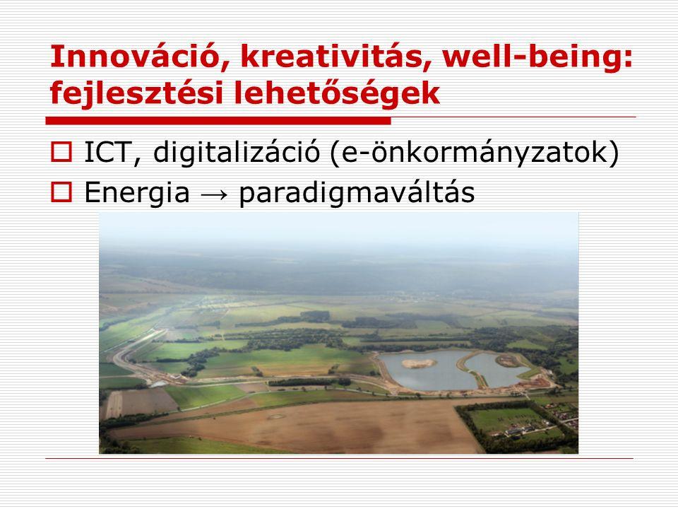 Innováció, kreativitás, well-being: fejlesztési lehetőségek  ICT, digitalizáció (e-önkormányzatok)  Energia → paradigmaváltás