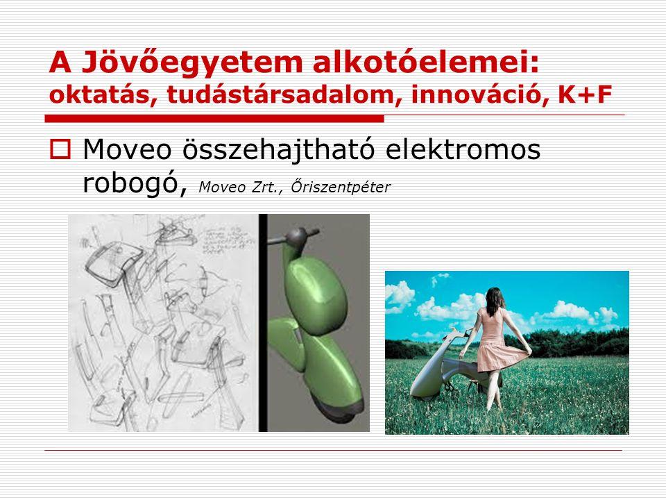 A Jövőegyetem alkotóelemei: oktatás, tudástársadalom, innováció, K+F  Moveo összehajtható elektromos robogó, Moveo Zrt., Őriszentpéter
