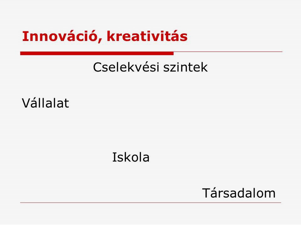 Innováció, kreativitás Cselekvési szintek Vállalat Iskola Társadalom