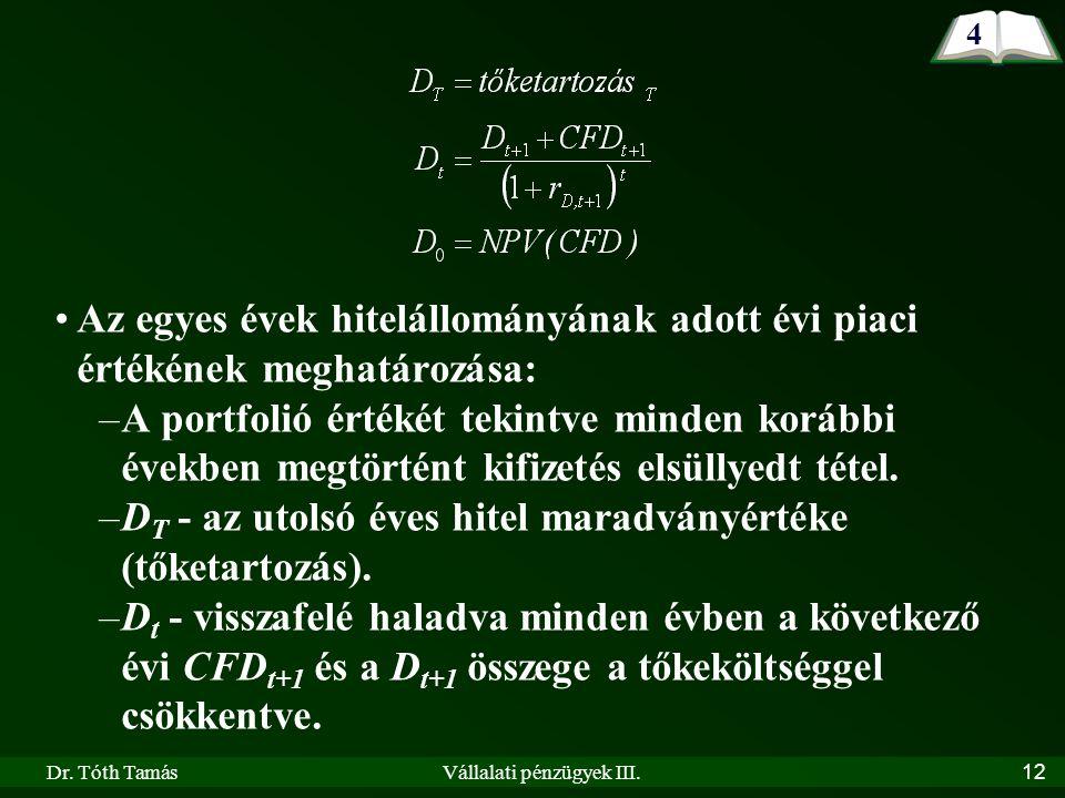 Dr. Tóth TamásVállalati pénzügyek III.