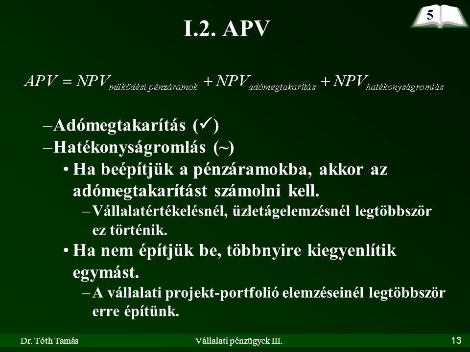 Dr. Tóth TamásVállalati pénzügyek III. 13 I.2.