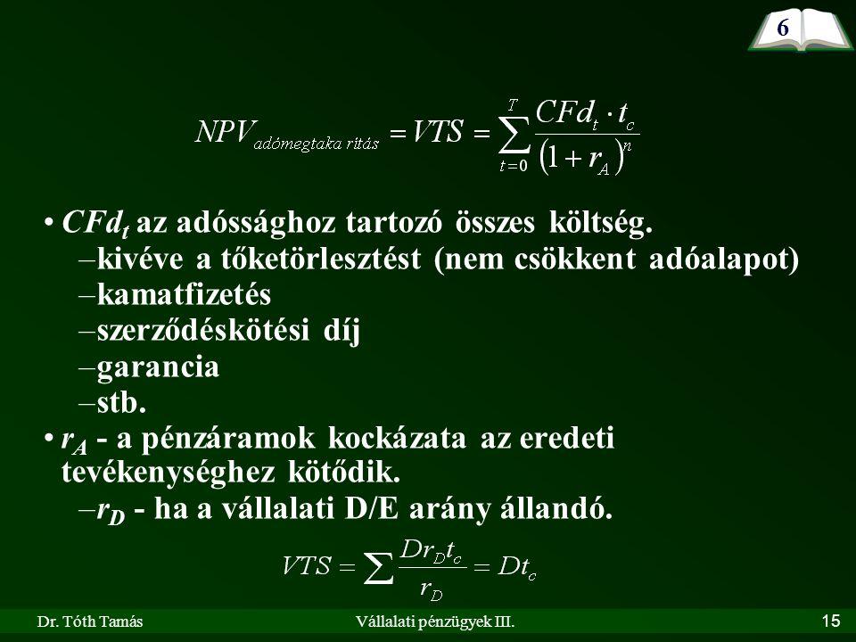 Dr. Tóth TamásVállalati pénzügyek III. 15 CFd t az adóssághoz tartozó összes költség.