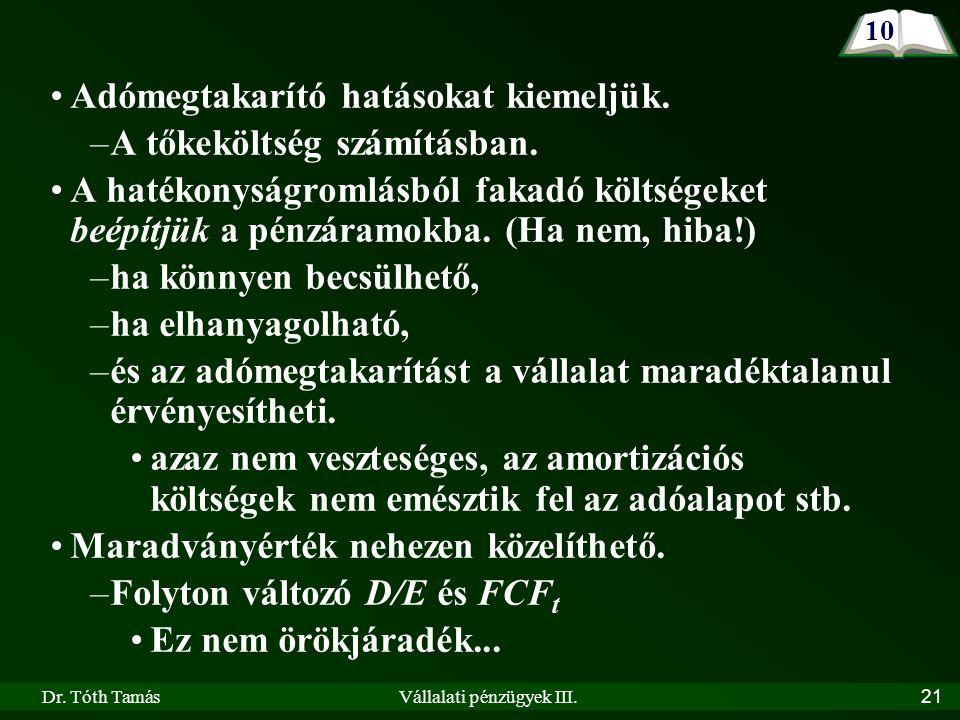 Dr. Tóth TamásVállalati pénzügyek III. 21 10 Adómegtakarító hatásokat kiemeljük.