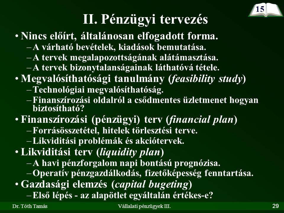 Dr. Tóth TamásVállalati pénzügyek III.29 II.