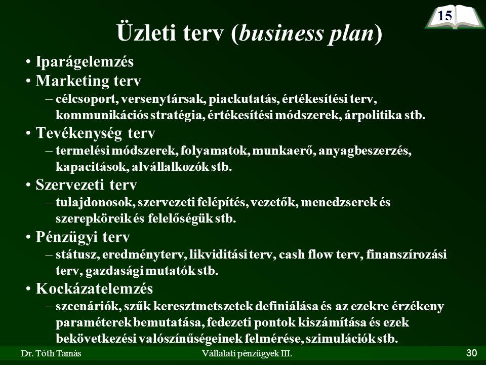 Dr. Tóth TamásVállalati pénzügyek III.30 Üzleti terv (business plan) Iparágelemzés Marketing terv –célcsoport, versenytársak, piackutatás, értékesítés