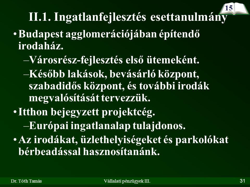 Dr. Tóth TamásVállalati pénzügyek III.31 II.1.