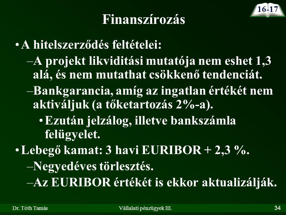 Dr. Tóth TamásVállalati pénzügyek III.34 A hitelszerződés feltételei: –A projekt likviditási mutatója nem eshet 1,3 alá, és nem mutathat csökkenő tend