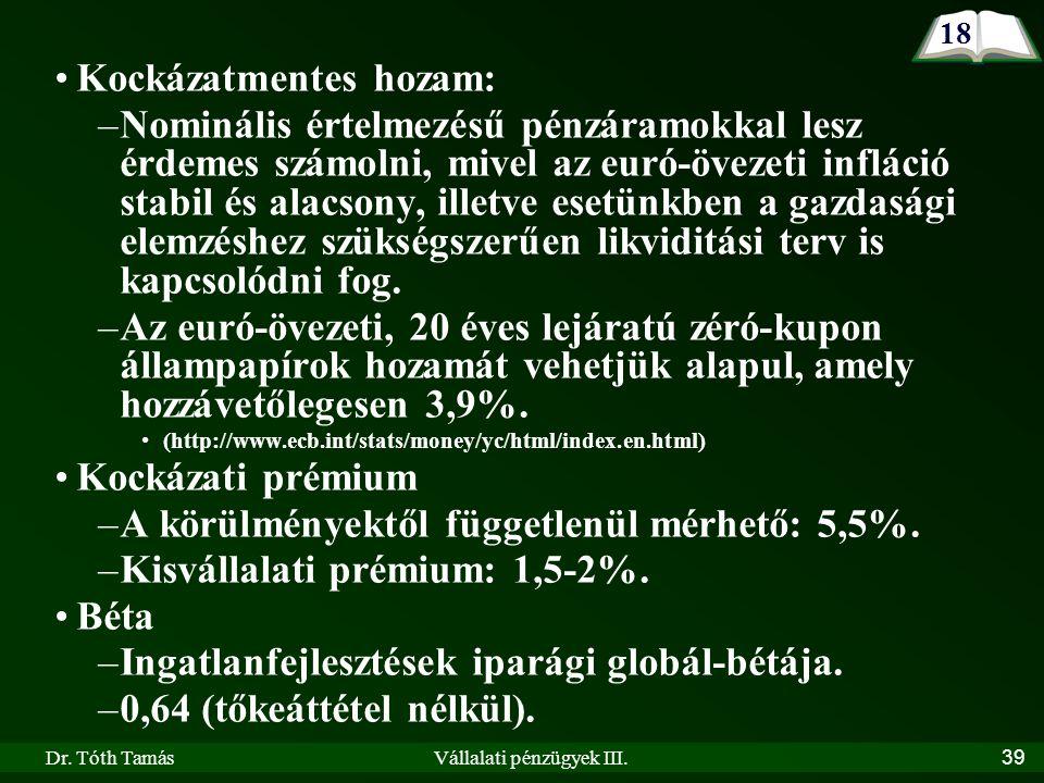 Dr. Tóth TamásVállalati pénzügyek III.39 Kockázatmentes hozam: –Nominális értelmezésű pénzáramokkal lesz érdemes számolni, mivel az euró-övezeti inflá