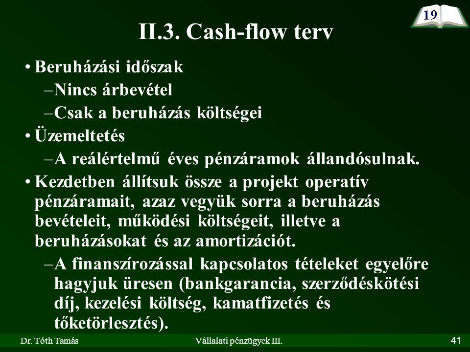 Dr. Tóth TamásVállalati pénzügyek III.41 Beruházási időszak –Nincs árbevétel –Csak a beruházás költségei Üzemeltetés –A reálértelmű éves pénzáramok ál